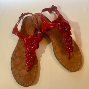 [Coach] red flower sandals cute shoes